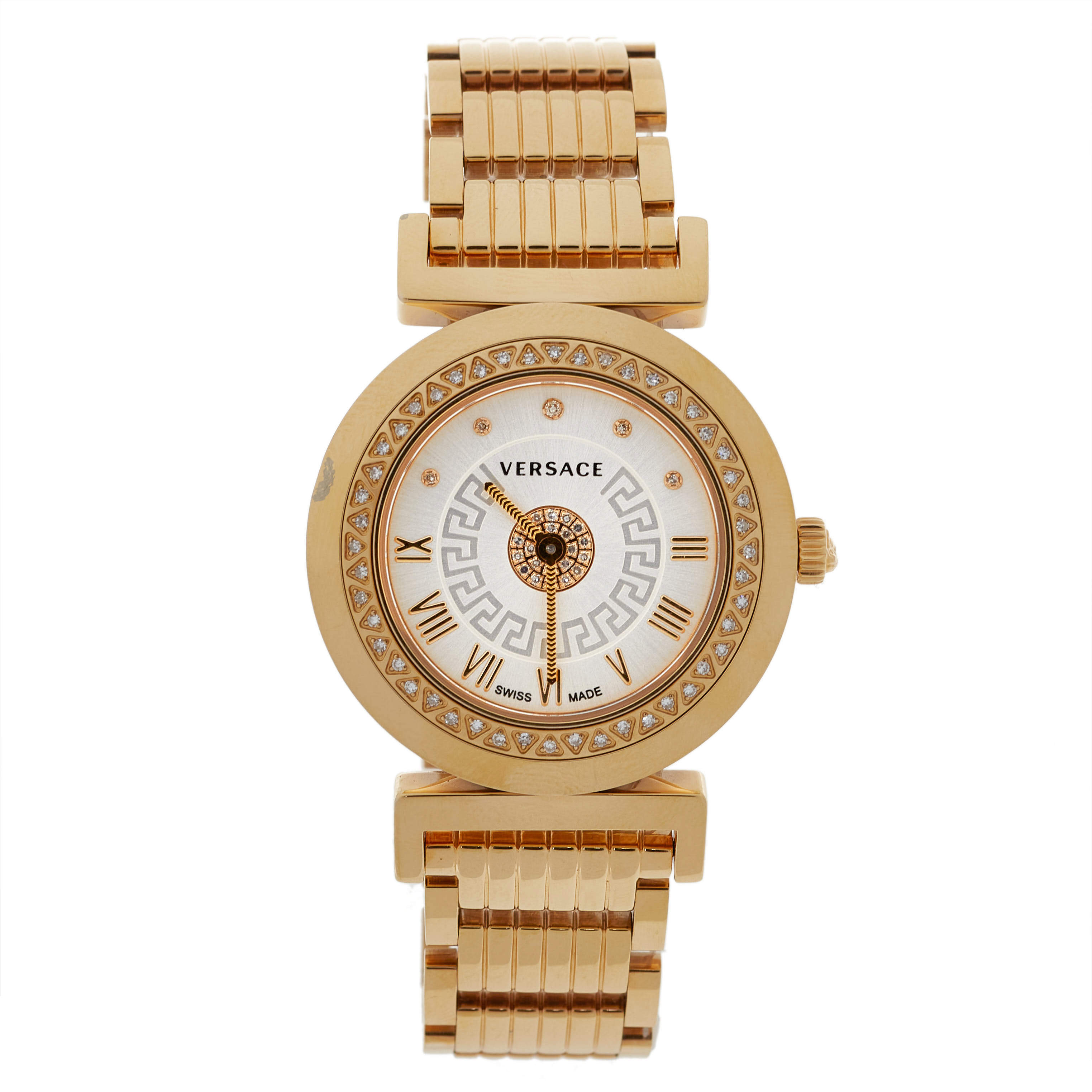 Versace Silver Gold Tone Stainless Steel Vanity P5Q Women's Wristwatch 35 mm