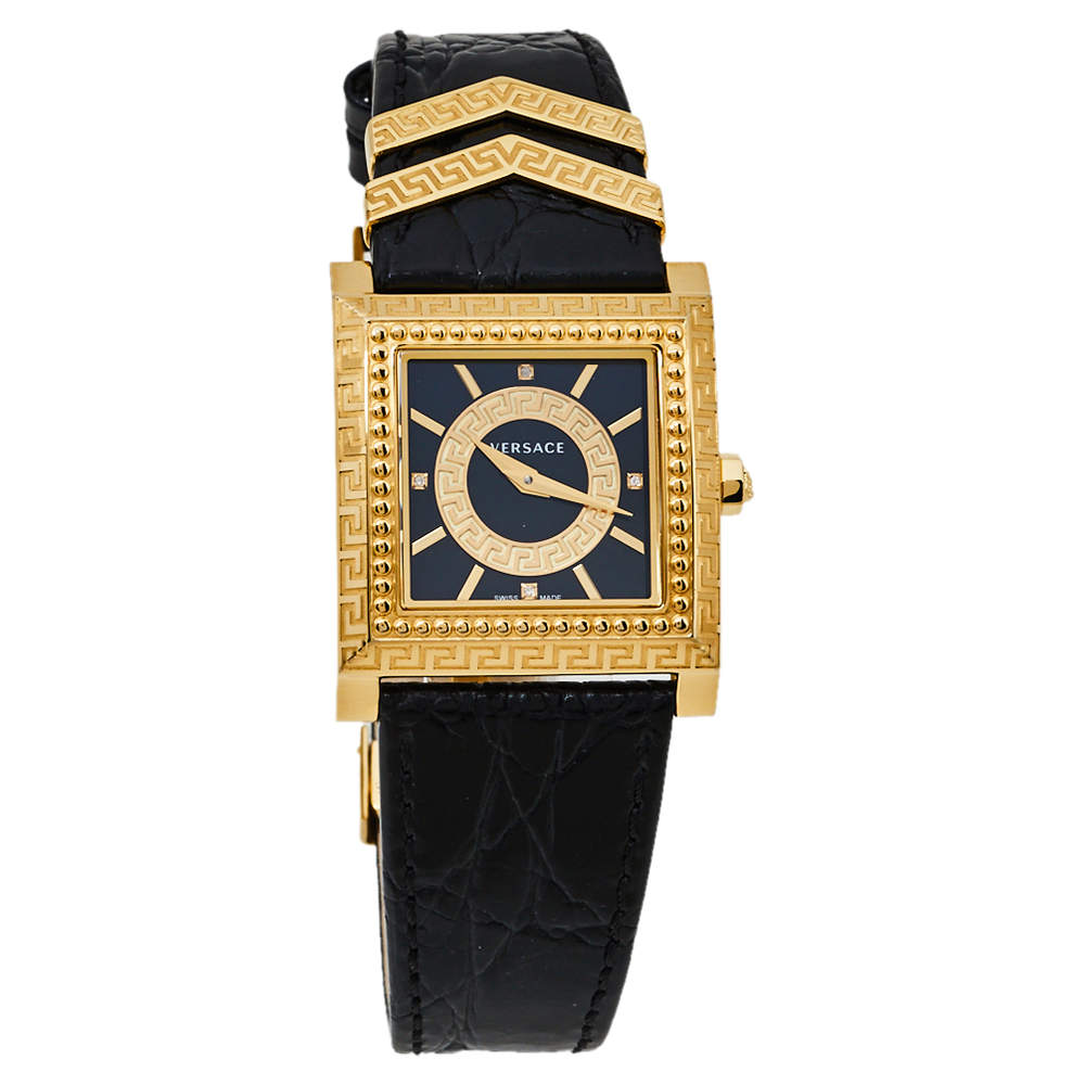 Versace Black Yellow Gold Plates Stainless Steel Diamond VD25 VQF020015 Women's Wristwatch 30 mm