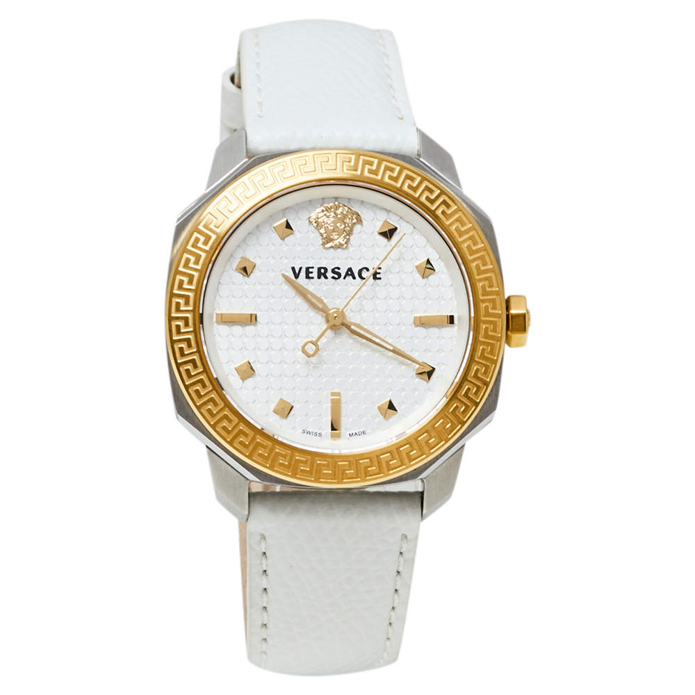Versace White Two-Tone Stainless Steel Leather Dylos VQD020015 Women's Wristwatch 35 mm