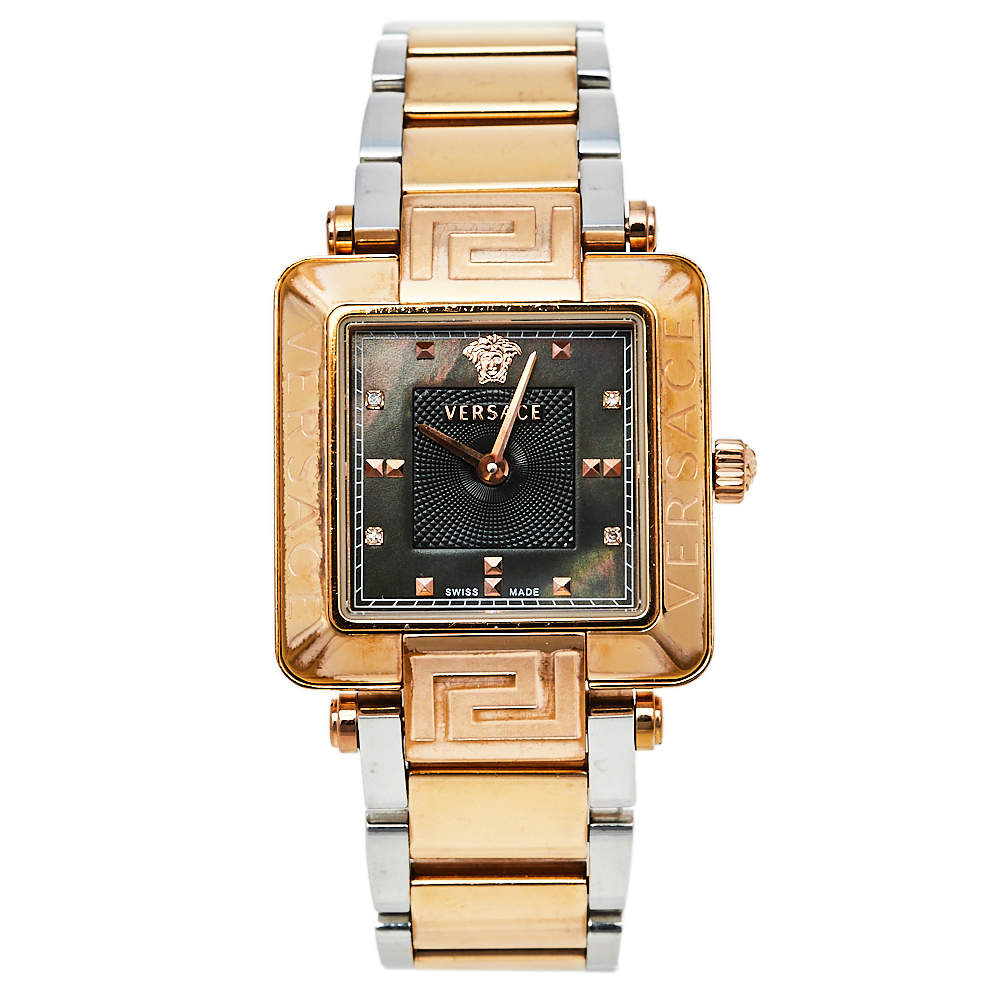 Versace Mother Of Pearl Two Tone Stainless Steel Reve Carre 88Q Women's Wristwatch 30 mm