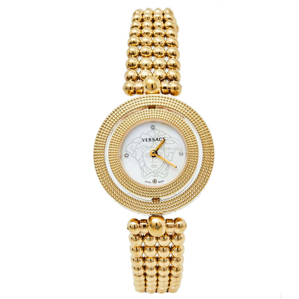Versace Mother Of Pearl Yellow Gold Plated Stainless Steel Eon 79Q Women's Wristwatch 33.5 mm