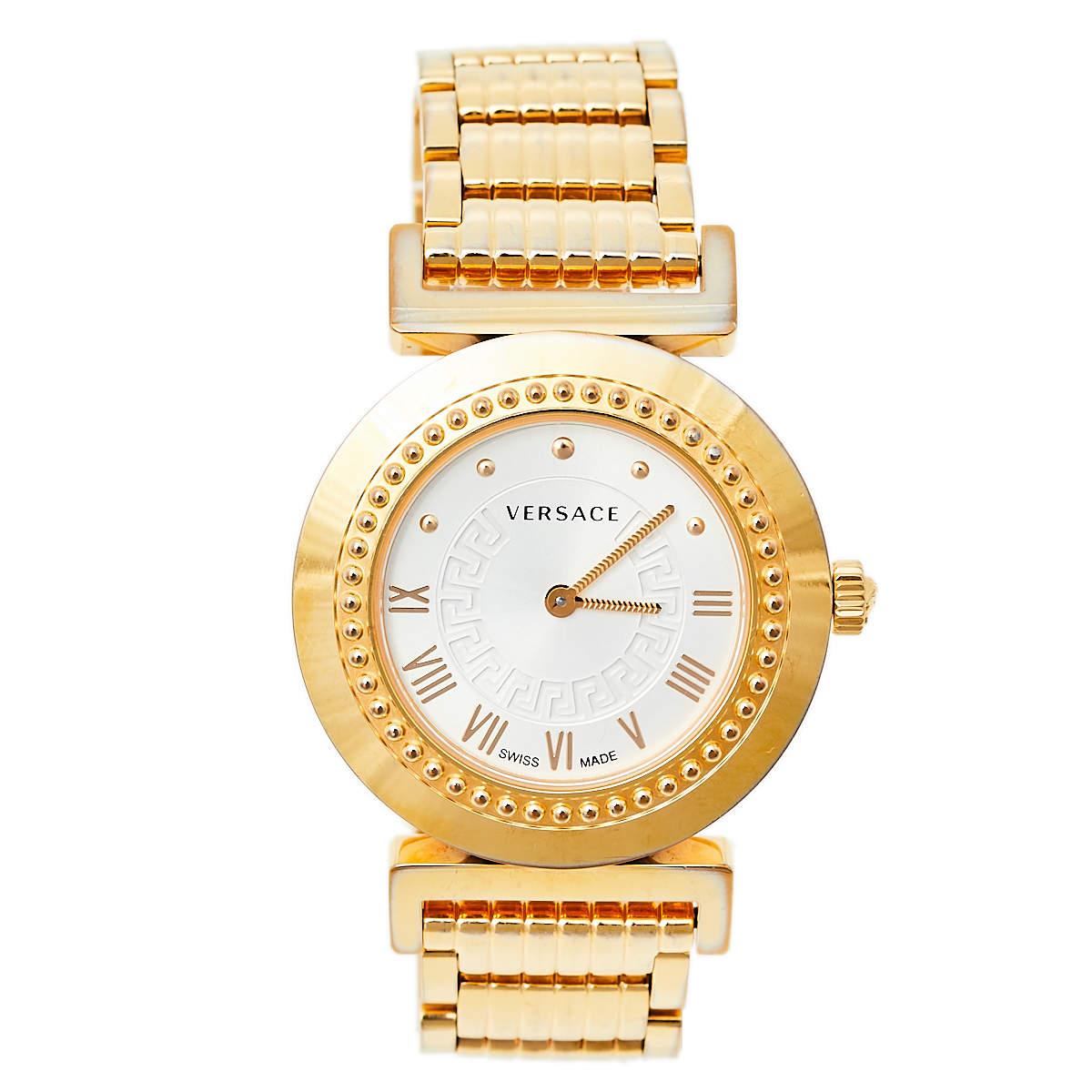 Versace Opaline White Yellow Gold Tone Stainless Steel Vanity P5Q Women's Wristwatch 35 mm