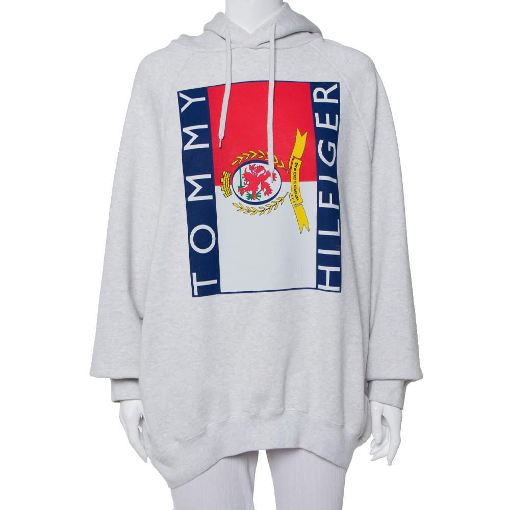 Vetements x Tommy Hilfiger Grey Logo Printed Knit Hooded Sweatshirt S