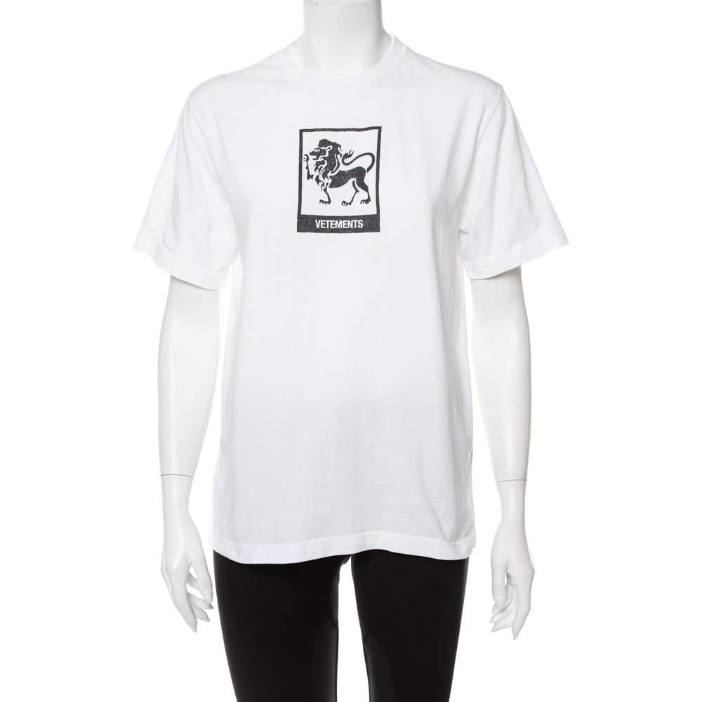 Vetements White Leo Zodiac Printed Cotton Crewneck T-Shirt S
