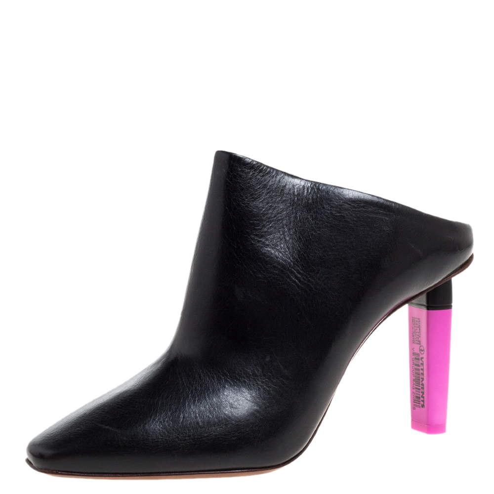 Vetements Black/Pink Leather Gypsy Highlighter Heel Mules Size 41