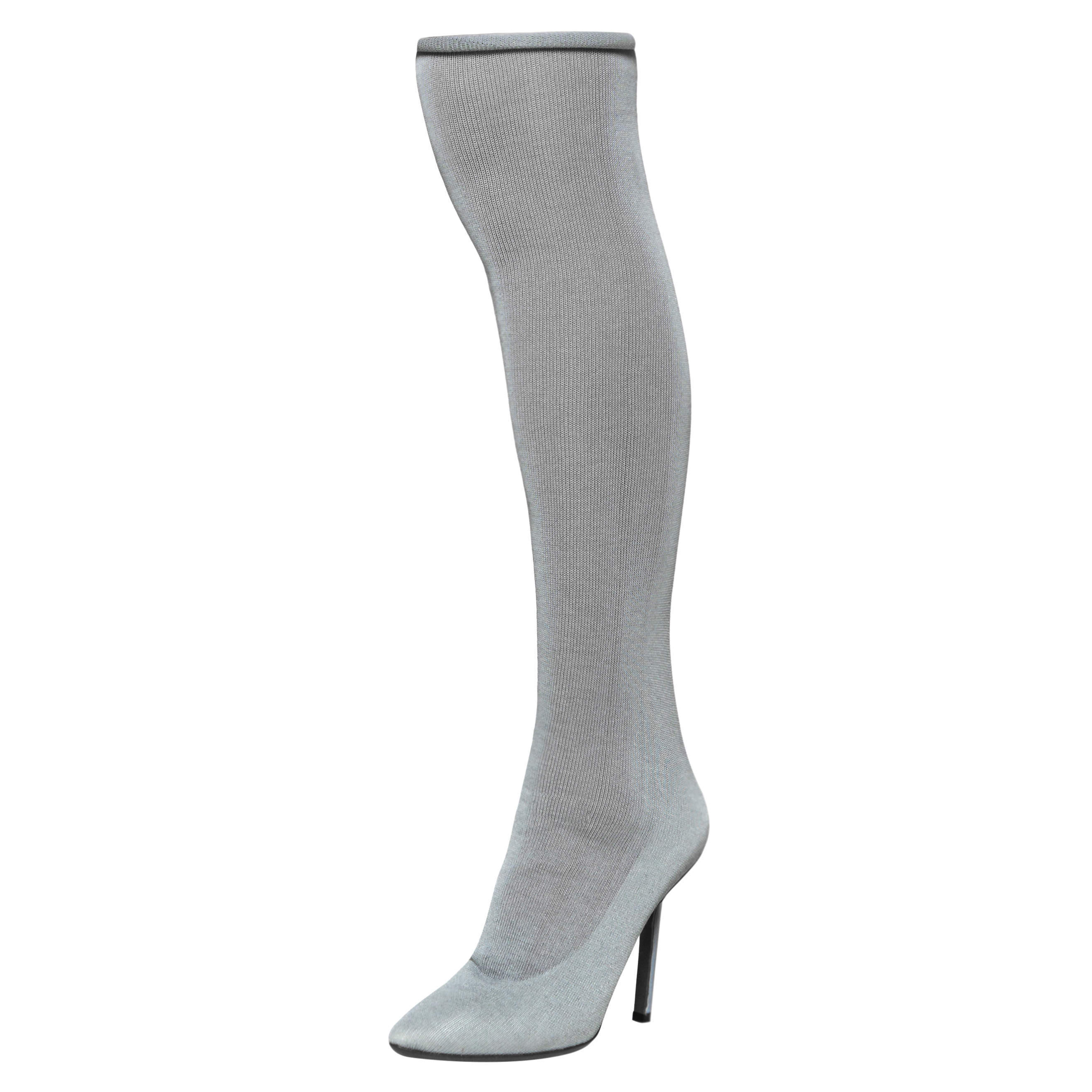 Vetements Grey Stretch Fabric Reflective Thigh High Socks Boots Size 37