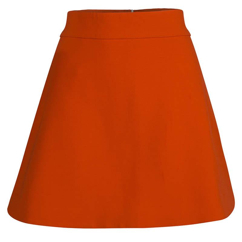 Victoria Beckham Bright Orange A-Line Skirt M