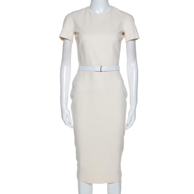 Victoria Beckham Cream Silk Wool Blend Belted Sheath Dress S