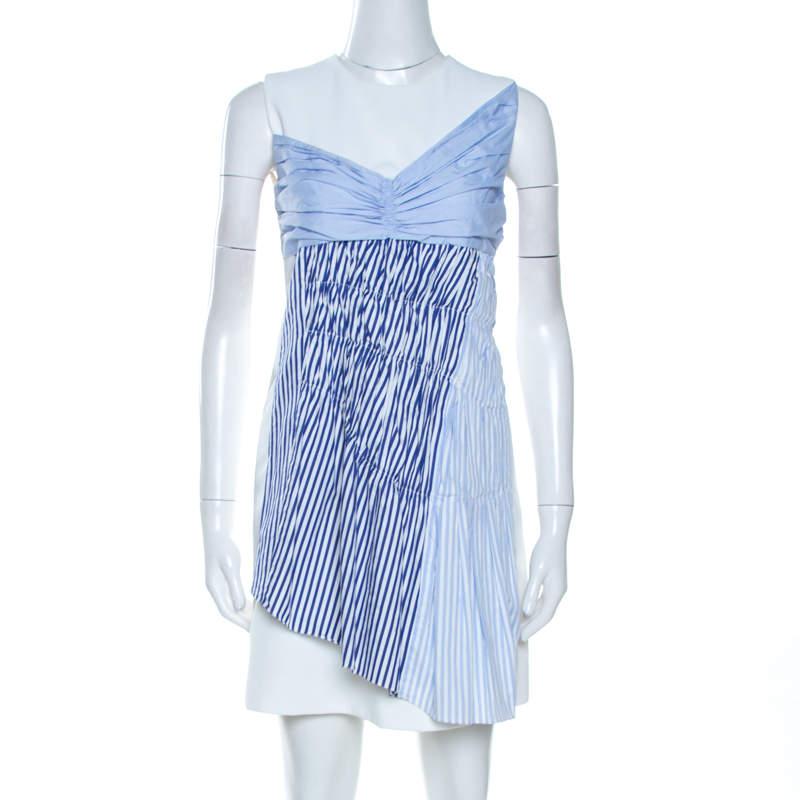 Victoria Victoria Beckham White Paneled Cotton Overlay Mini Dress S