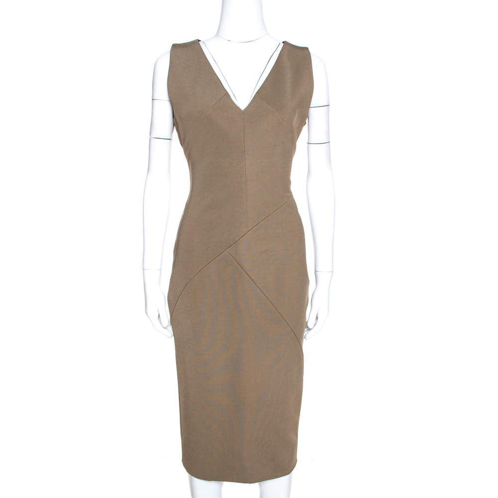 Victoria Beckham Brown Stretch Knit Sleeveless Sheath Dress L