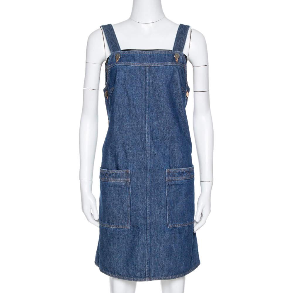 Victoria Beckham Indigo Denim Pinafore Dress S