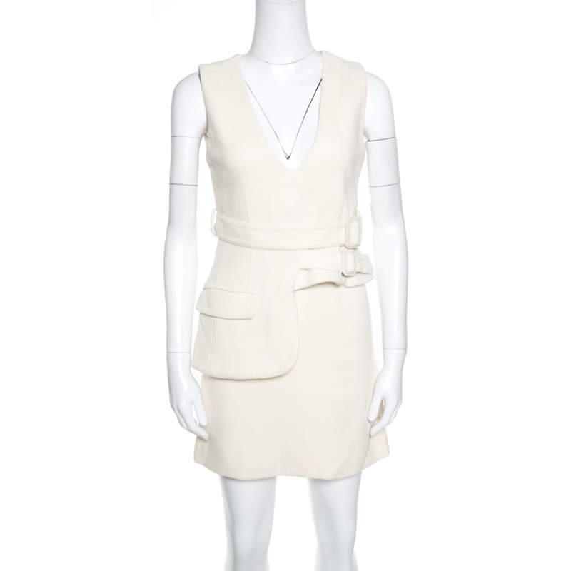 Victoria Victoria Beckham Cream Wool V-Neck Belted Sleeveless Dress S