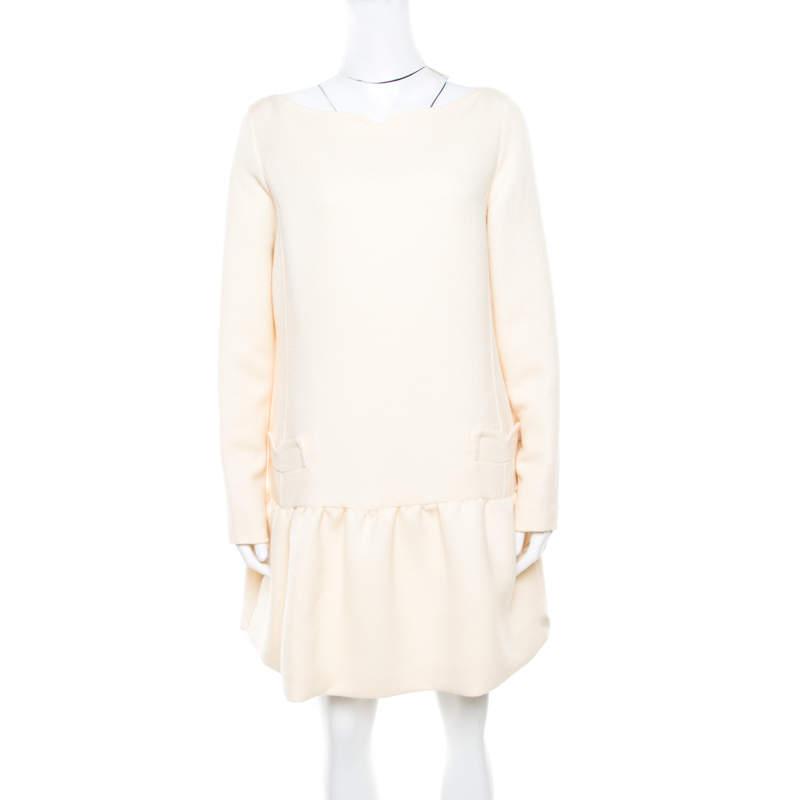 Victoria Victoria Beckham Soft Cream Summer Wool Flounce Dress  L