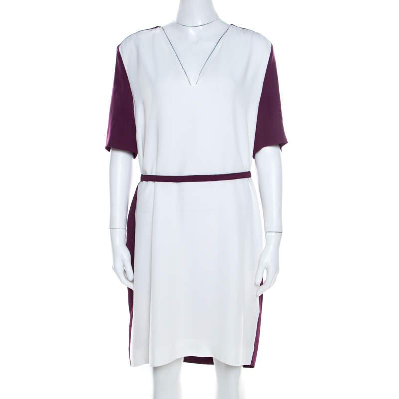 Victoria Victoria Beckham Purple and White Belted Shift Dress L