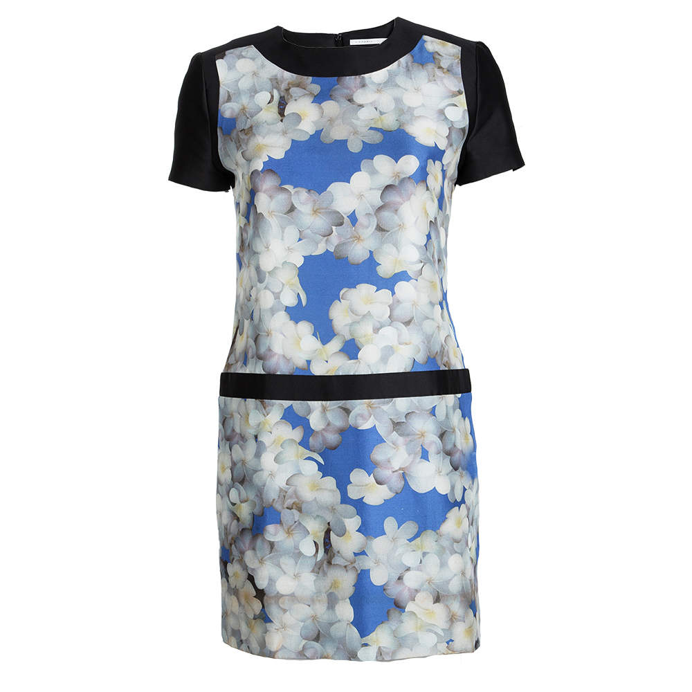 Victoria Victoria Beckham Multicolor Floral Printed Silk Short Sleeve Dress S