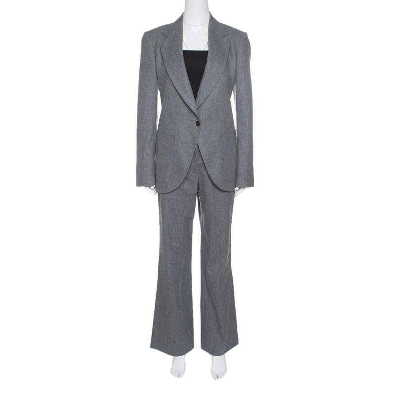 Viktor & Rolf Grey Wool Tailored Blazer and Trouser Set M