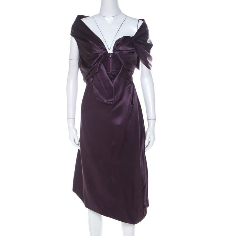 Vivienne Westwood Purple Satin Silk Draped Corset Bodice Dress M
