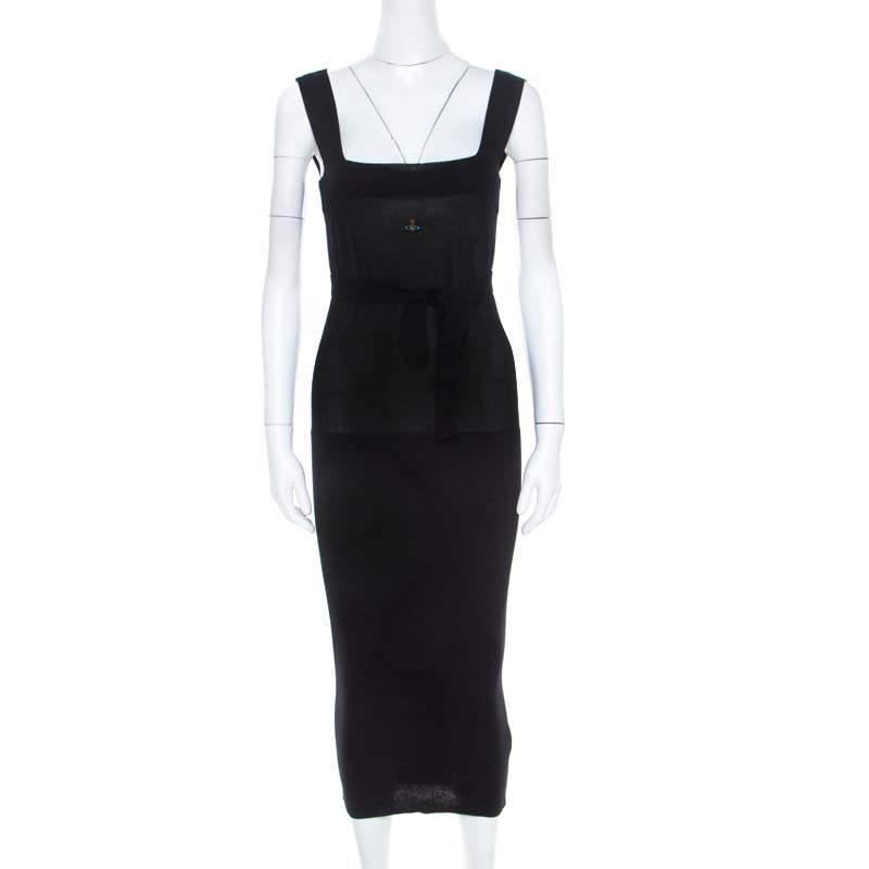 Vivienne Westwood Red Label Black Rib Knit Sleeveless Fitted Belted Midi Dress S