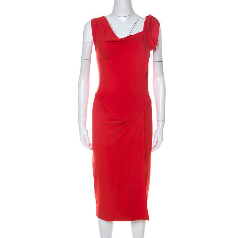 Vivienne Westwood Red Label Red Wool Asymmetrical Faux Wrap Midi Dress S