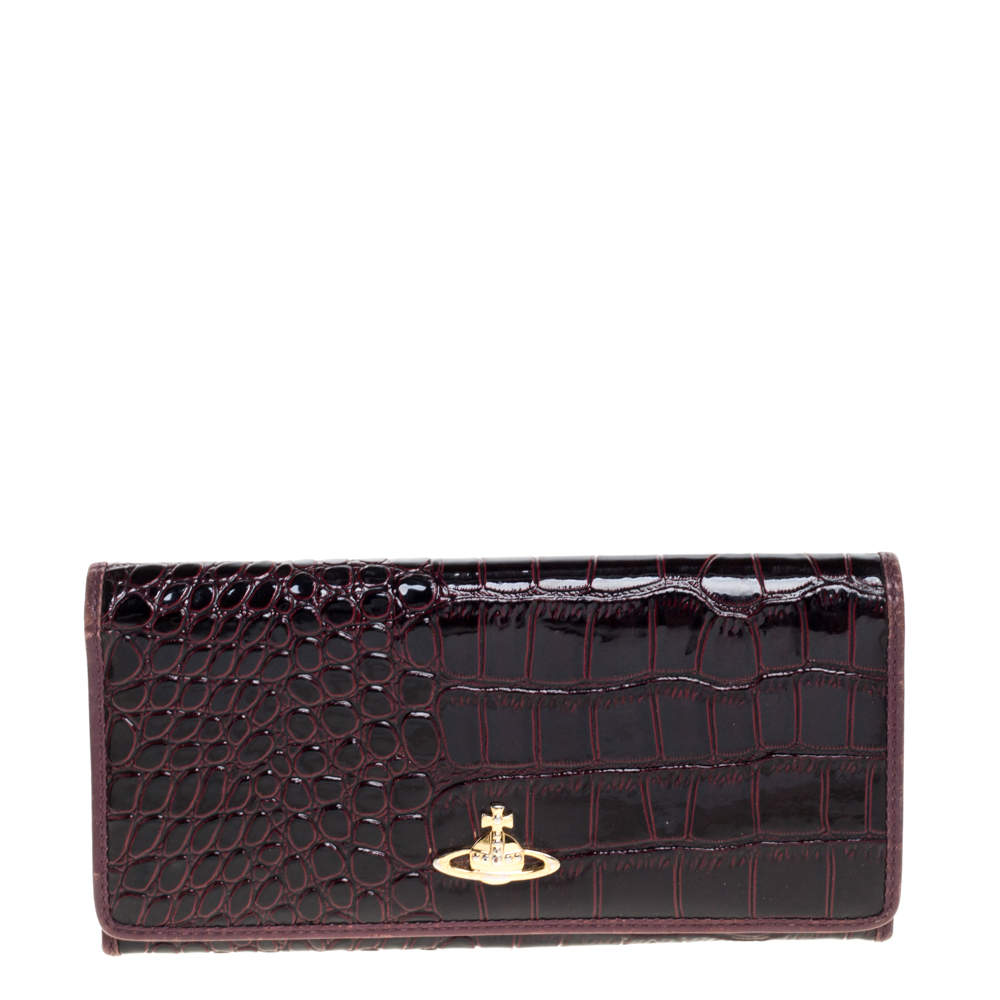Vivienne Westwood Plum Croc Embossed Patent Leather Flap Continental Wallet