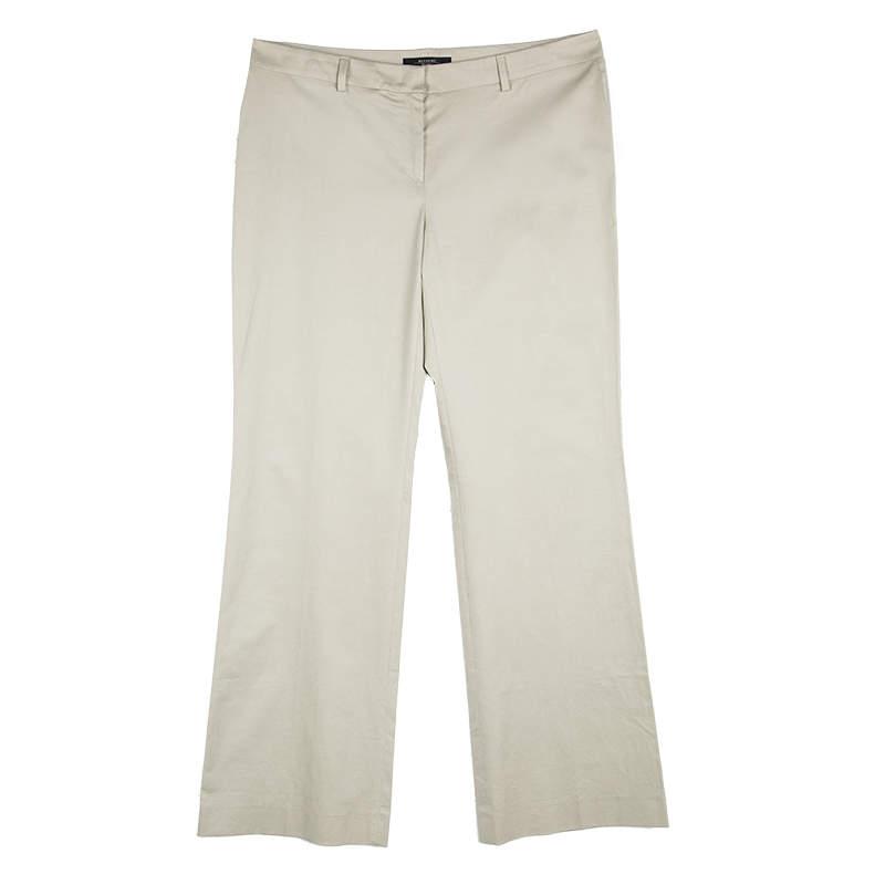 Weekend Max Mara Beige Cotton Wide Leg Modern Trousers L