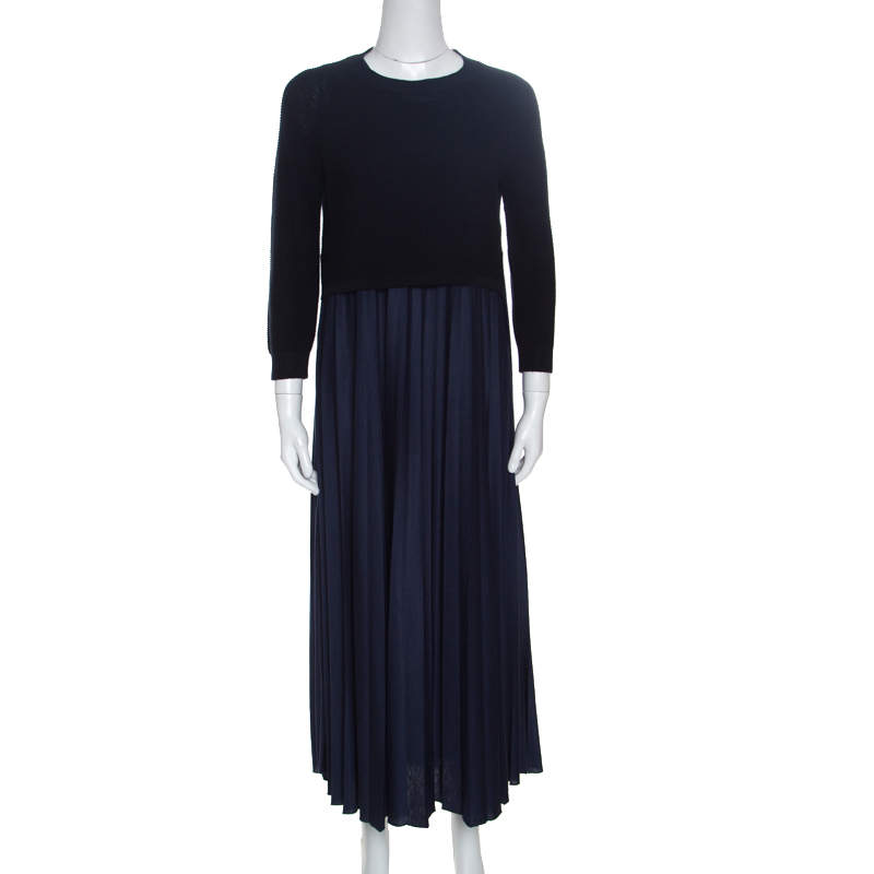Weekend Max Mara Navy Blue Cropped Sweater and Dress Set M