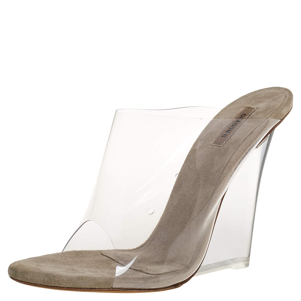 Yeezy Transperant/Tale Green PVC Season 6 Mule Sandals Size 36