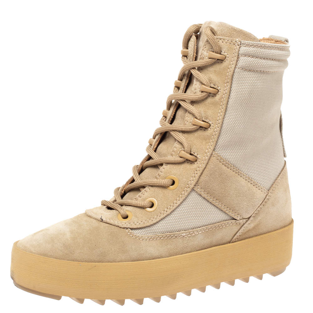 Yeezy Light Brown Canvas and Suede Season 3 Rock Military Boots Size 37