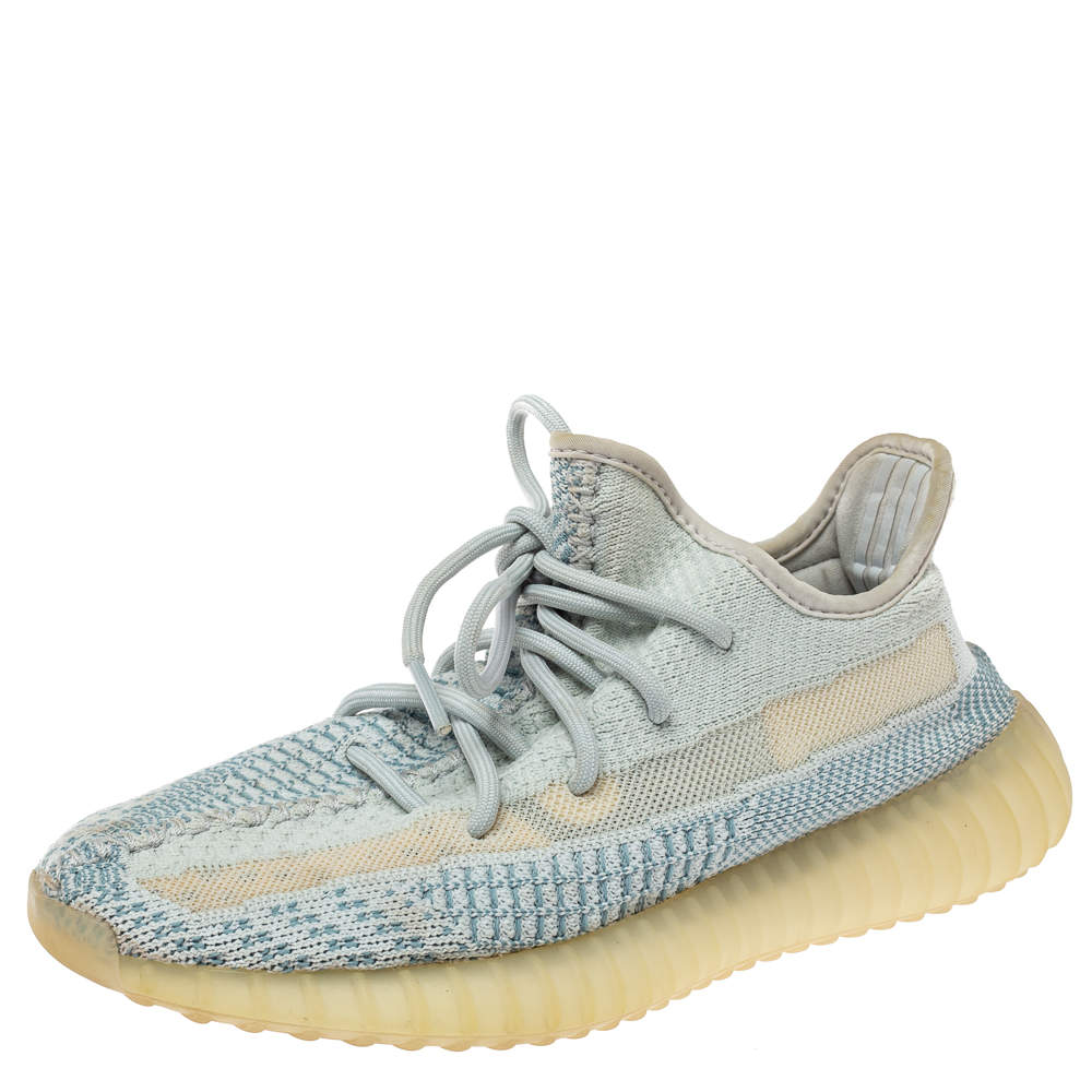 Yeezy x Adidas Blue/White Cotton Knit Boost 350 V2 Sneakers Size 39.5