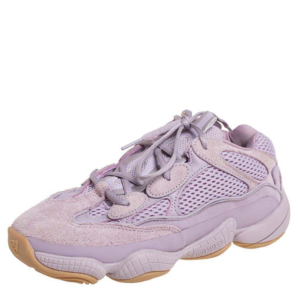 Yeezy x adidas Purple Mesh And Suede 500 Soft Vision Low Top Sneakers Size 38