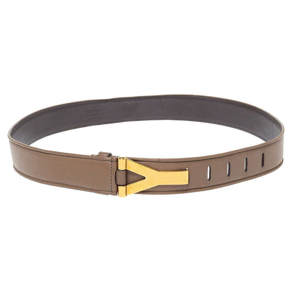 Yves Saint Laurent Brown Leather Y Buckle Belt 90CM