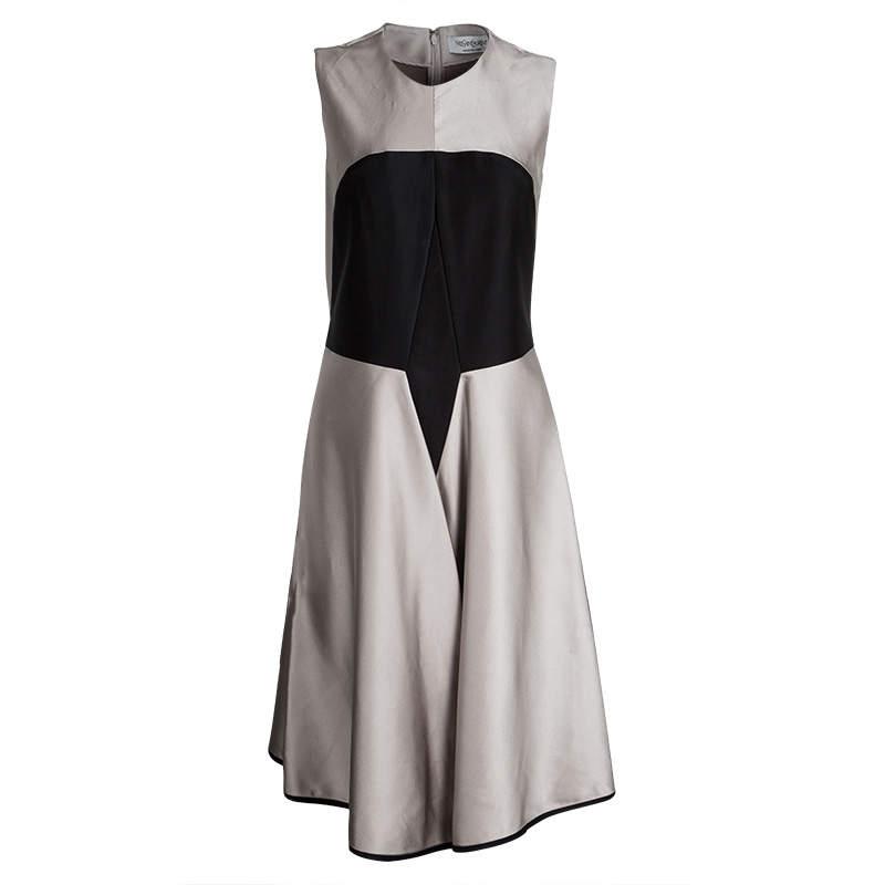 Yves Saint Laurent Colorblock Silk Flared Bottom Sleeveless Dress M