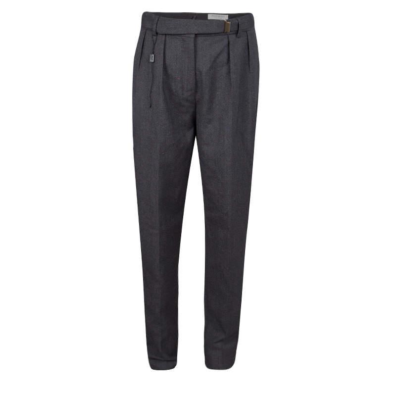 Yves Saint Laurent Paris Grey Wool High Waist Belted Pants M