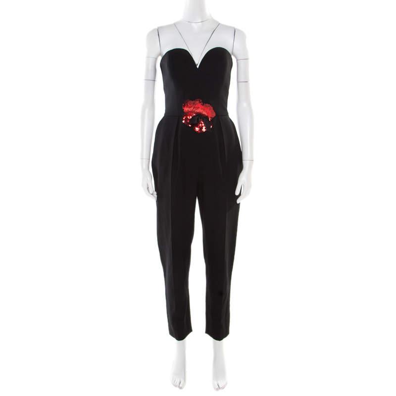 Yves Saint Laurent Black Wool Floral Embellished Strapless Jumpsuit M