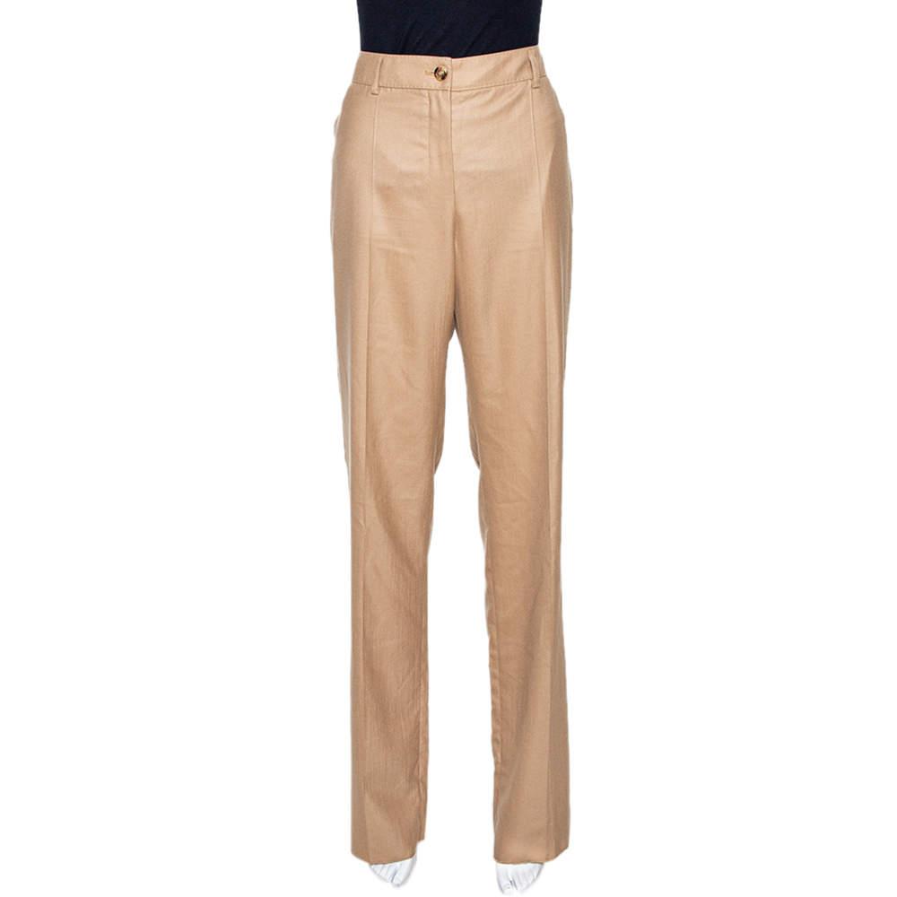 Yves Saint Laurent Beige Cashmere Straight Leg Pants L