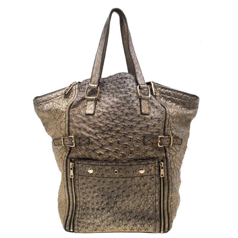 Saint Laurent Paris Gold Ostrich Embossed Leather Medium Downtown Tote