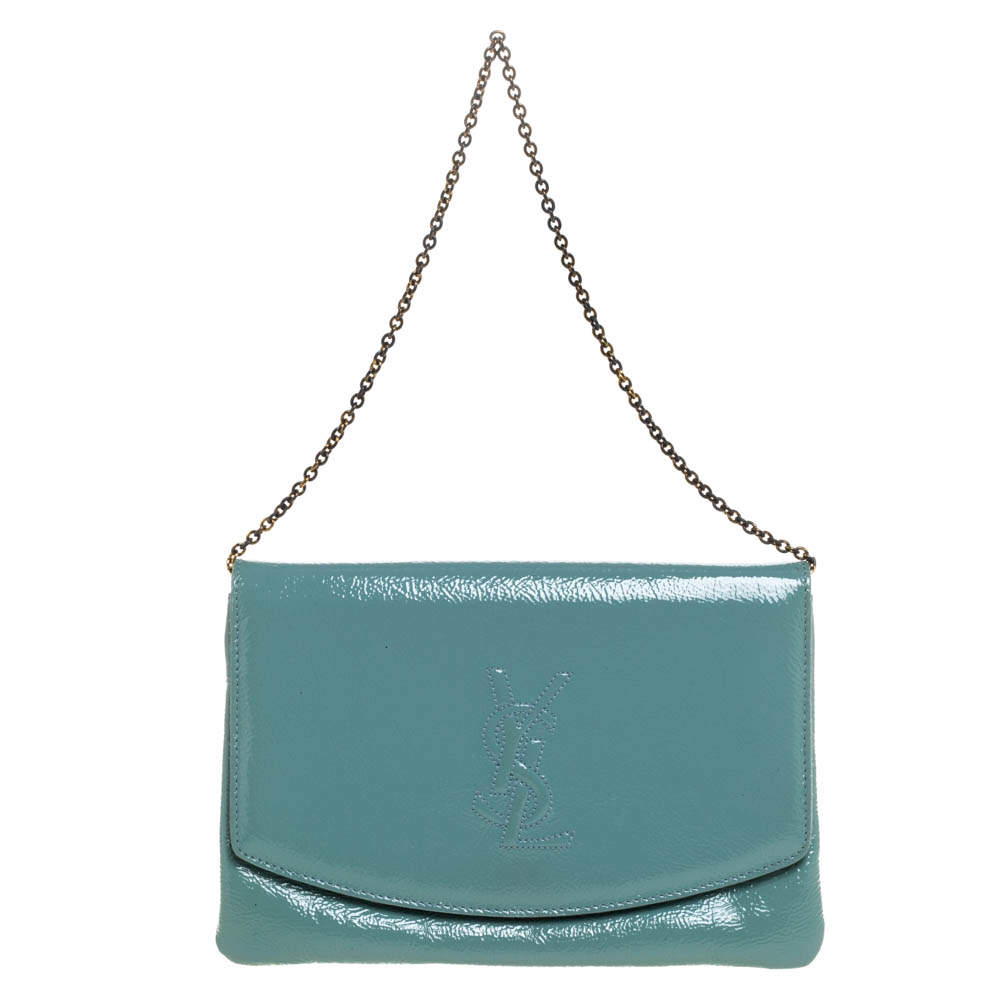 Yves Saint Laurent Pale Green Patent Leather Chain Clutch