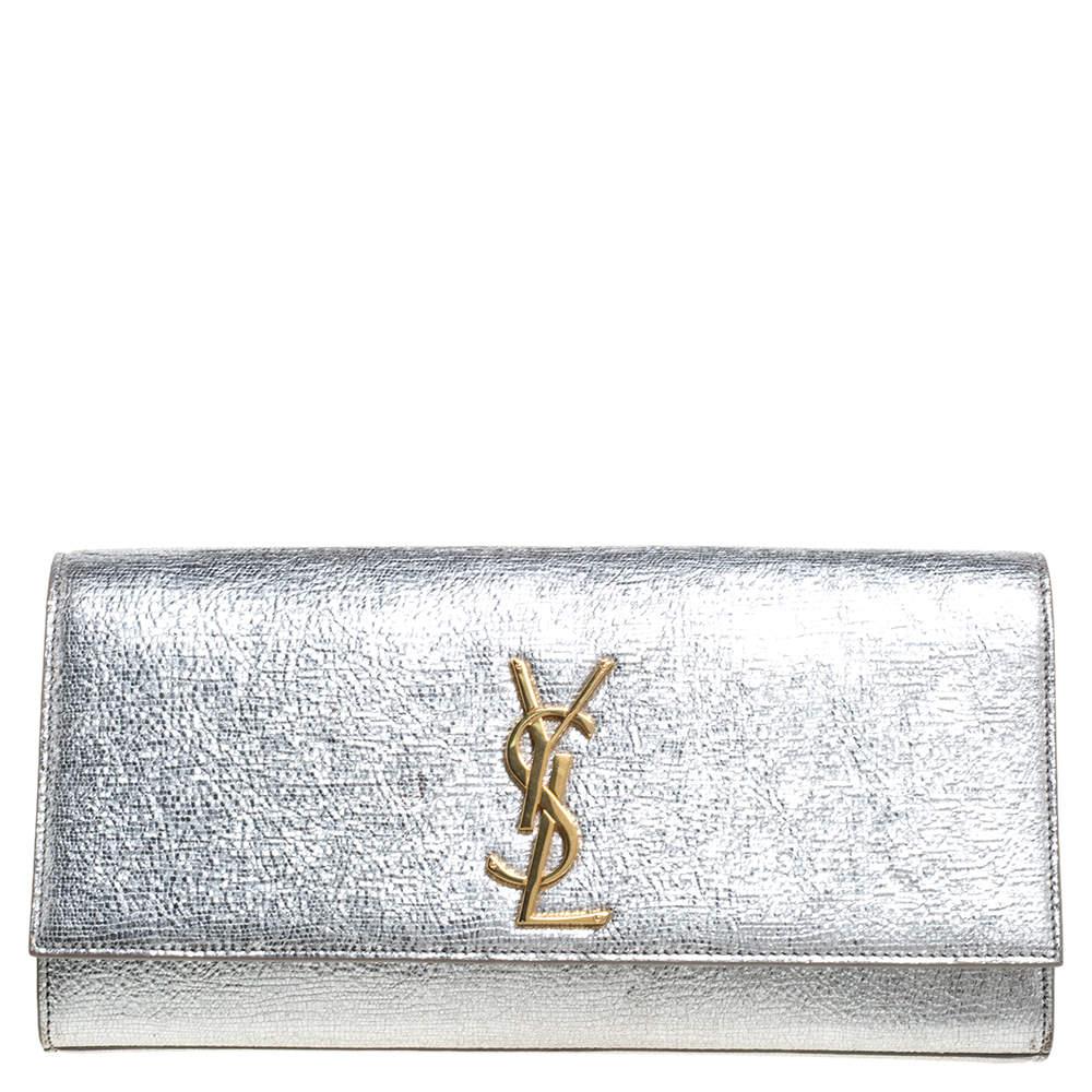 Saint Laurent Metallic Silver Textured Leather Monogram Clutch