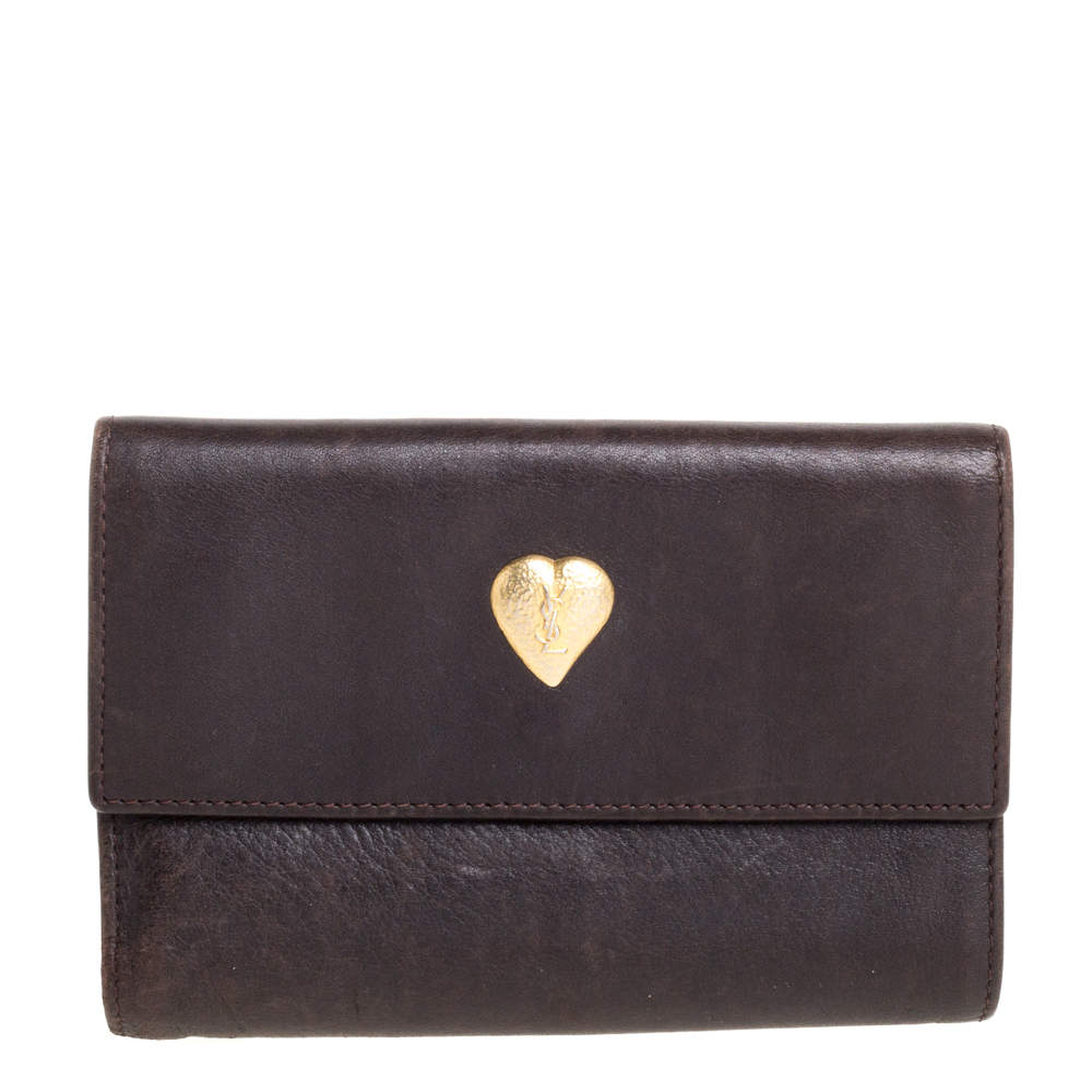 Saint Laurent Brown Leather Trifold Wallet