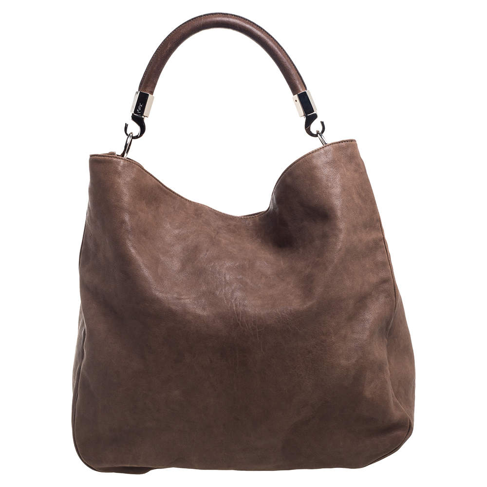 Yves Saint Laurent Brown Leather Large Roady Hobo