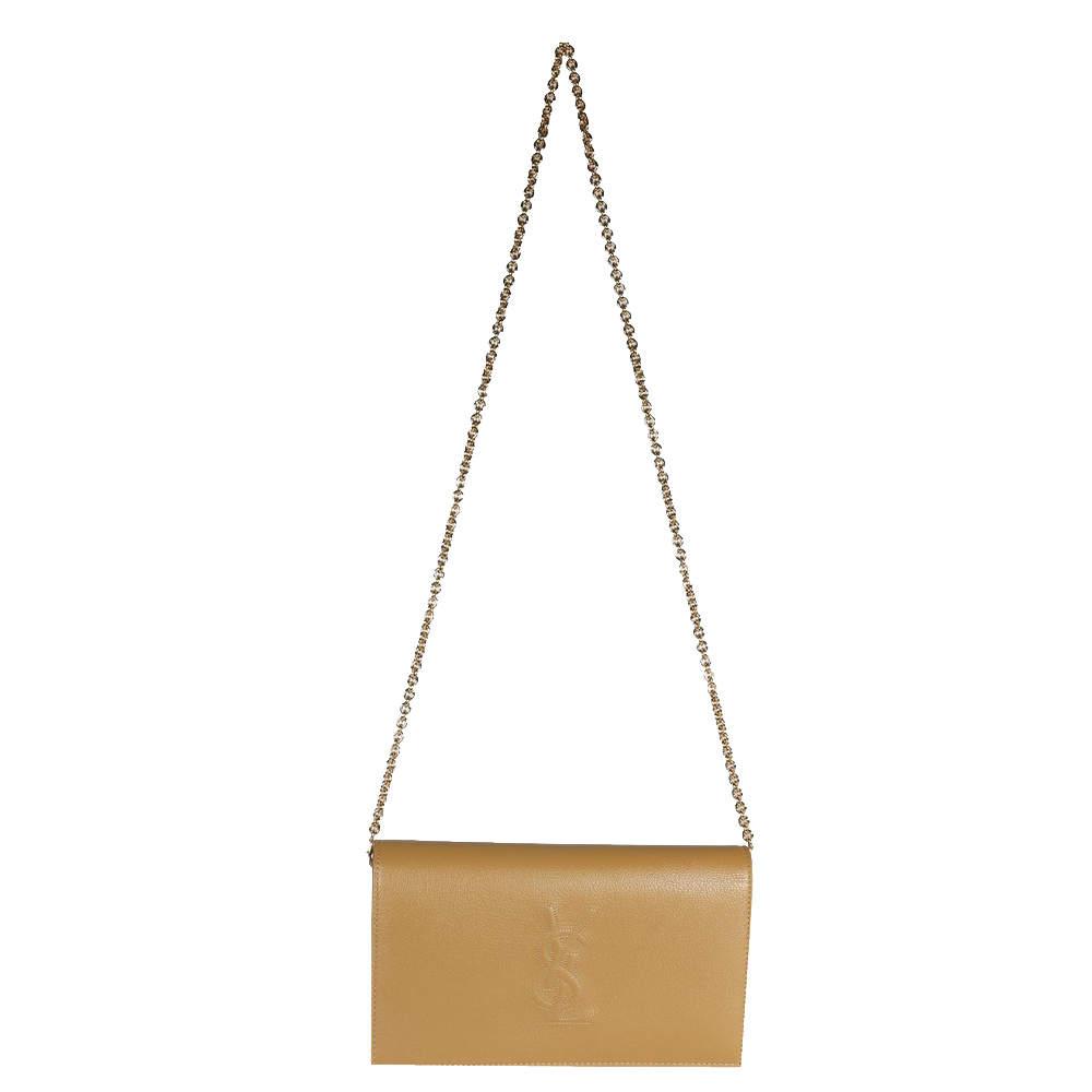 Yves Saint Laurent Beige Leather Belle De Jour Chain Wallet