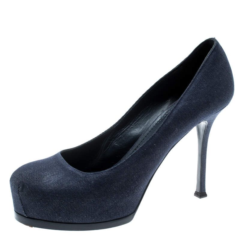 Yves Saint Laurent Blue Denim Fabric Tribtoo Platform Pumps Size 40