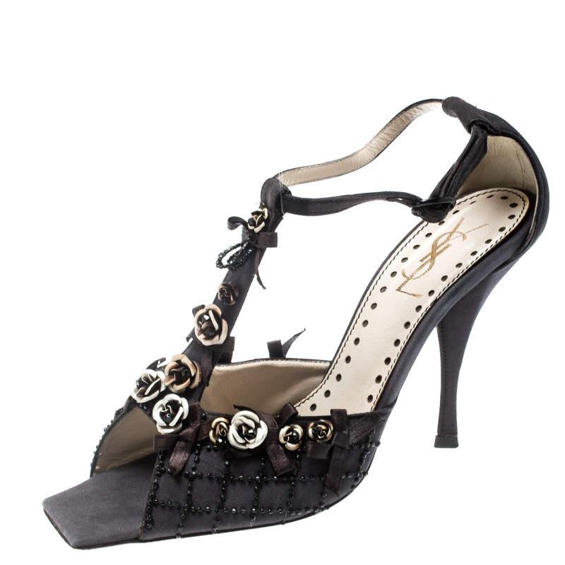 Saint Laurent Paris Black Canvas Fabric Embellished Floral T-Strap Open Toe Sandals Size 38