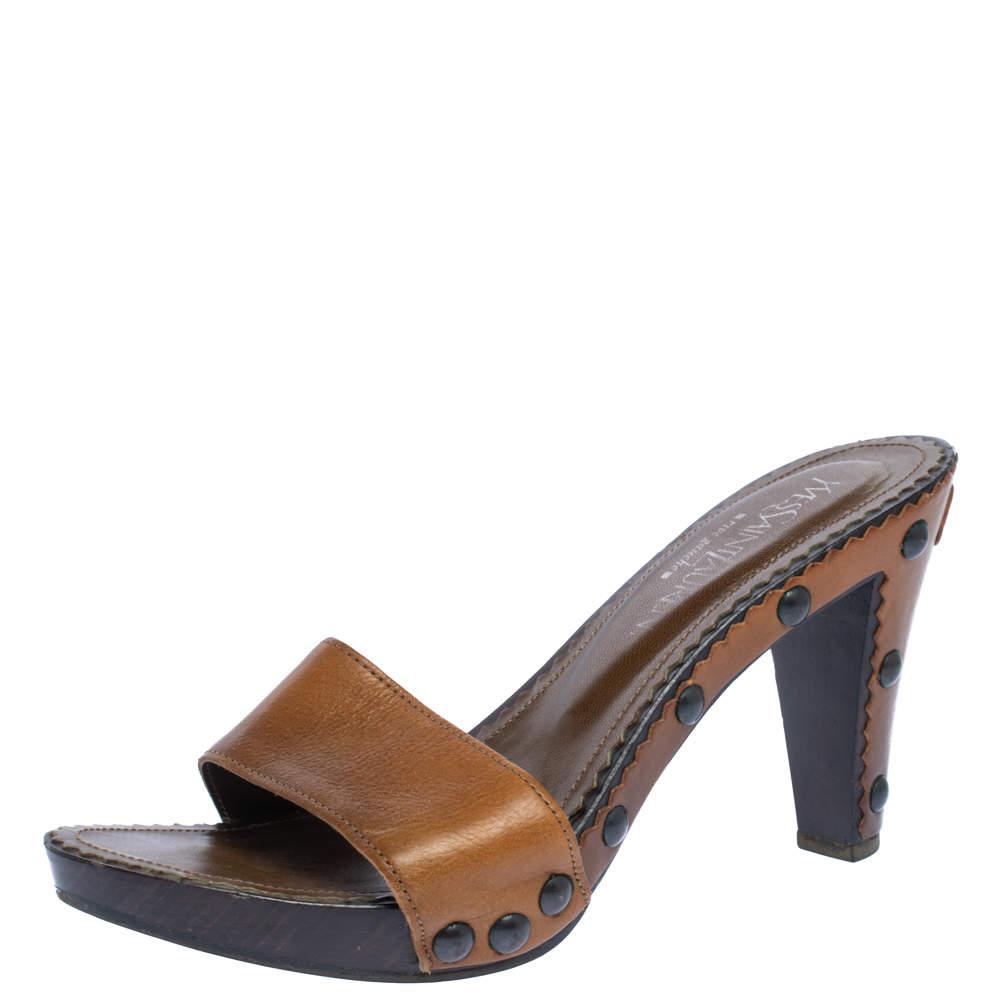 Yves Saint Laurent Brown Leather Wooden Slide Sandals Size 38