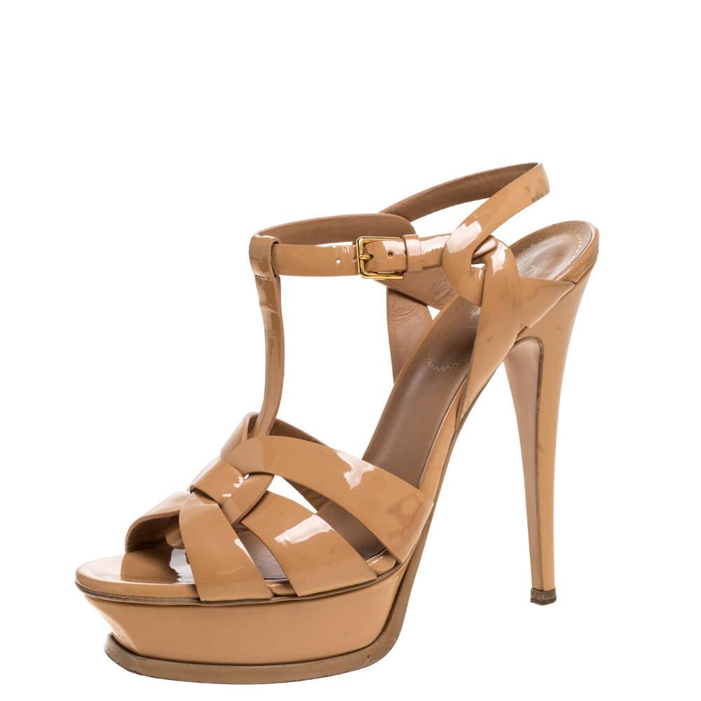 Yves Saint Laurent Beige Patent Leather Tribute Platform Sandals Size 38.5