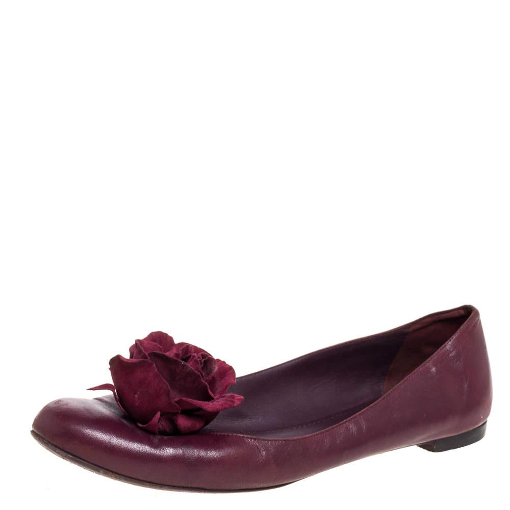 Yves Saint Laurent Burgundy Leather Rose Embellished Ballet Flats Size 39.5