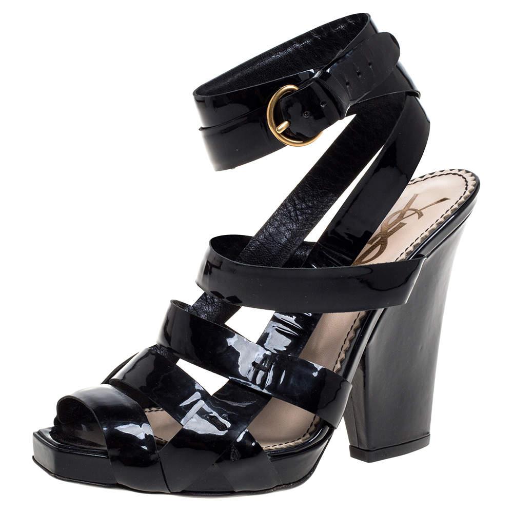 Yves Saint Laurent Black Patent Leather Strappy Sandals Size 37.5