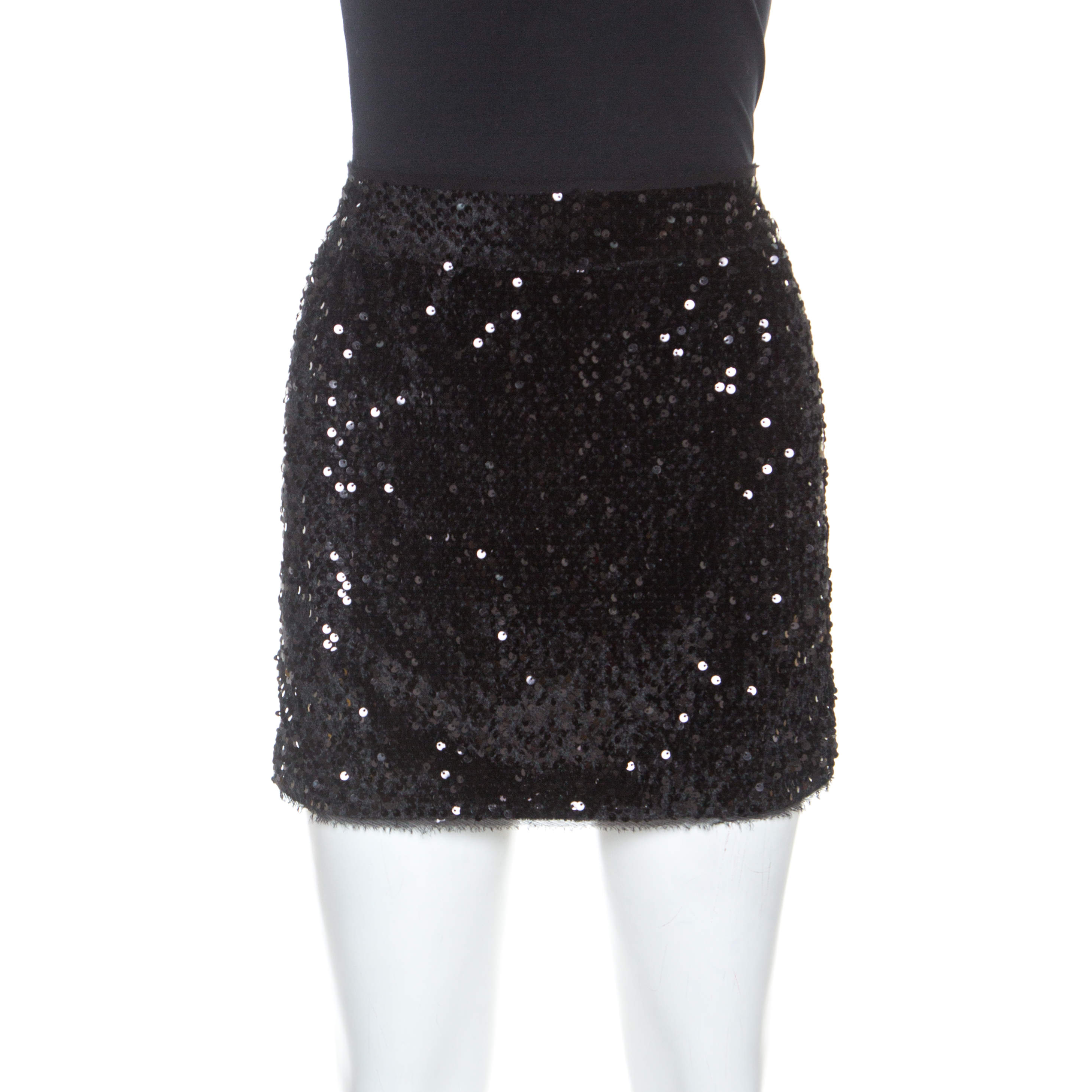 Zadig and Voltaire Black Sequined Jasmi Mini Skirt S