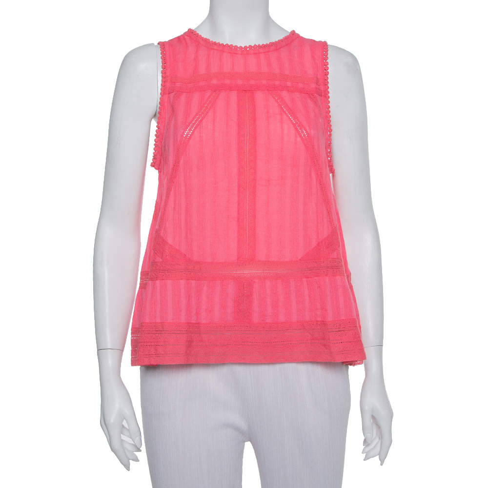 Zadig and Voltaire Pink Cotton Sleeveless Tank Top S