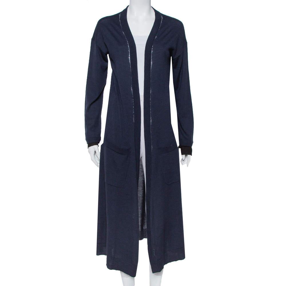Zadig & Voltaire Navy Blue Merino Wool Romy Long Cardigan L